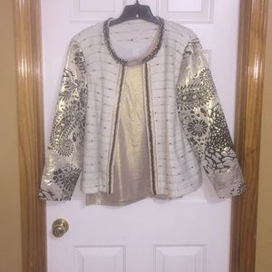 Chico's holiday blazer w/shell Black, cream & gold
